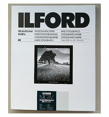 "Ilford Multigrade IVRC De Luxe Pearl Black & White 10x8"" (20.3x25.4cm) 50 sheet"