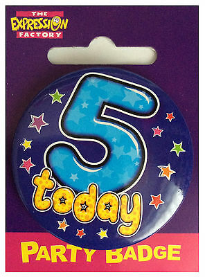 Simon Elvin I AM 5 TODAY Happy 5th Birthday Shaped Badge Pink Girl 55mm