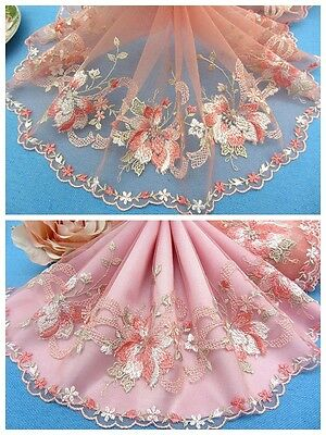 "7""*1Y Embroidered Tulle Lace Trim~Peach+Ice Mint+White~Miss Sunshine~Gorgeous~"