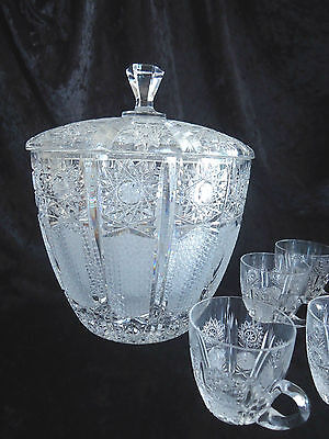 Bohemian Crystal Punch Bowl & Cups