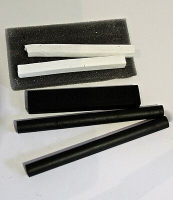 5 x WHITE & Black CHARCOAL & COAL  Compressed STICKS  DRAWING Sketching