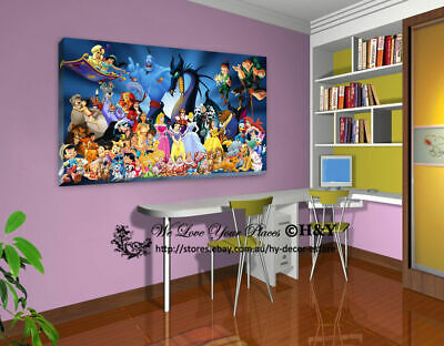 50x70x3cm Disney Characters Stretched Canvas Prints Wall Kids Art Decor FRAMED