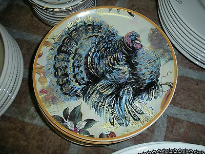 "ARLINGTON 7 3/4"" Turkey Plate (s) Thanksgiving Colorful Handpainted"