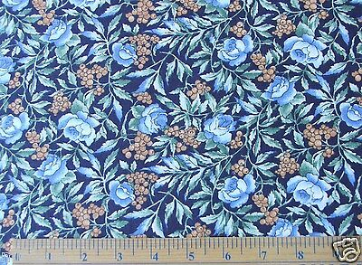 NEW 2 YARDS BERRIES FLOWERS ON BLUE CALICO COTTON FABRIC GREAT 4 QUILTS 44WIDE