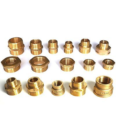 "Brass Bsp Reducing 1/2"" 1/4"" 3/8"" 3/4"" 1"" High Quality Free Posting"