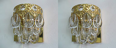 Pair Mid-Century Modernist Gaetano Sciolari Crystal Wall Sconce by Palwa 1960´s