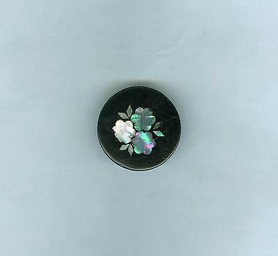 Large Victorian Paper Mache Button w/ Inlaid Pearl Flowers
