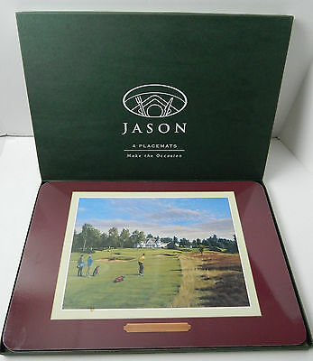 Set Of 4 Jason Cork Dinner Placemats Golf Courses, Golfing, Excellent Cond.