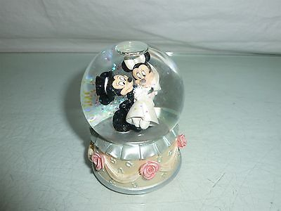 Mickey Mouse & Minnie Mouse Disney Snow Globe  Wedding Bride and groom