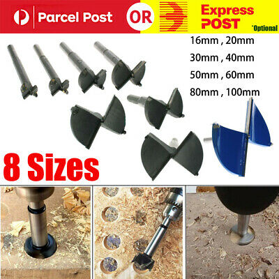 8 Sizes HSS Forstner Woodworking Boring Wood Hole Saw Cutter Drill Bit 16-100mm