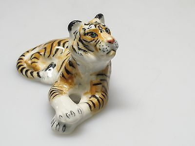 Wildlife Collectible MINIATURE HAND PAINTED PORCELAIN Tiger FIGURINE