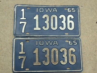 PAIR 1965 IOWA License Plates 17 13036  Cerro Gordo County IA x