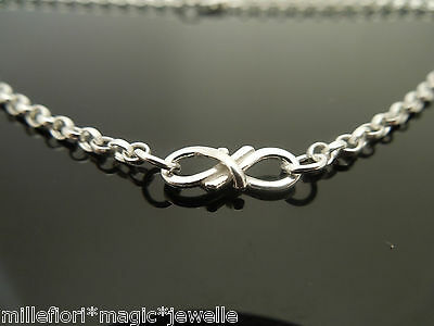 "Sterling Silver Bracelet Or Ankle Chain Anklet Infinity Design 7"" 8"" 9"" 10"" 11"""