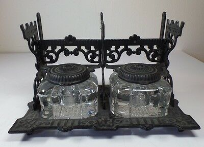 Early Antique Victorian Eastlake Cast Iron Double Inkwell Stand EAPG Glass Wells