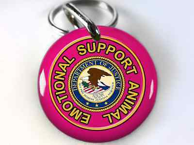 Service Dog ESA Emotional Support Animal Dog ID Tags pet tags Pink