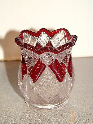 National Eureka Ruby Stained Toothpick Holder EAPG