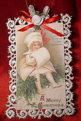 New Handmade Vintage Style Victorian Christmas Card Tree Ornament - Waiting