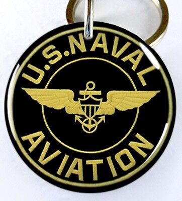 U.S. Naval Aviation Navy Military dog cat round custom tag for pets by ID4PET