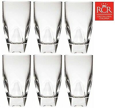 RCR Diamante Crystal Hi Ball Tumblers Set of 6 (40cl) Hand Made Italian Crystal