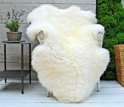 Luxury White and Ivory Sheepskin Rug Throw Blanket BIGGEST SIZES L XL, XXL, XXXL