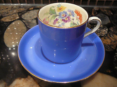 BLUE AYNSLEY BONE CHINA DEMI TASSE TEA CUP & SAUCER FLORAL INTERIOR