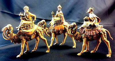 """3 Fontanini by Roman Three Kings on Camels Stands 5"""" Wise Men Nativity Figurines"""