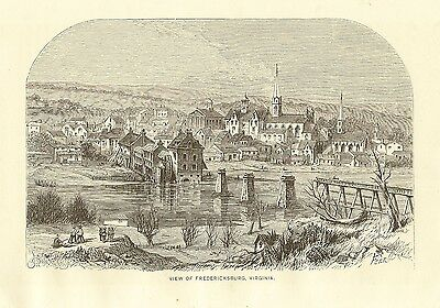 Original Antique FREDERICKSBURG VIRGINIA Civil War Engraving Rappahannock River