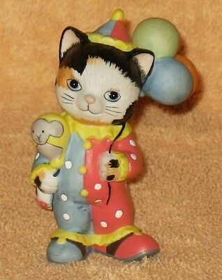 BRONSON  BISQUE PORCLAIN COLLECTIBLE CLOWN CAT FIGURE MNB