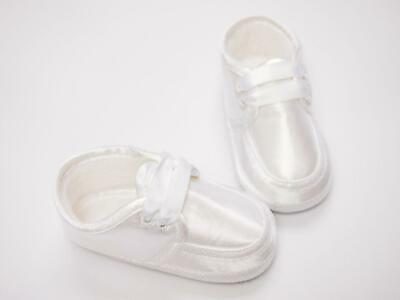 Sarah Louise 477 Baby Boy's Satin White Loafer Christening/Wedding Shoes
