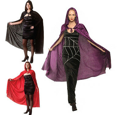"""Fancy Dress Hood Velvet Capes Long 65"""" Halloween Red Riding Witch Gothic Vampire"""