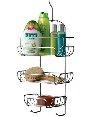 3 Tier Hanging Chrome Bath Shower Organiser Storage Caddy Basket Rack With Hooks