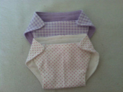 "Reversable fabric diapers for bitty baby or most 15"" dolls"