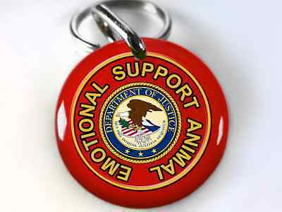 Service Dog ESA Emotional Support Animal Dog tags Pet tags Red
