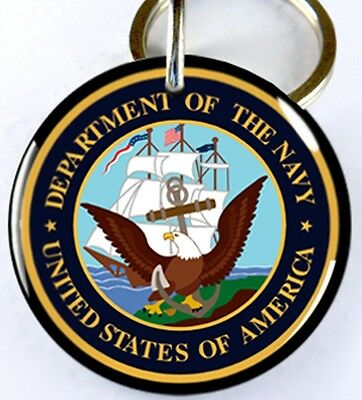 Department of Navy U.S. Military dog cat round custom tag for pets by ID4PET