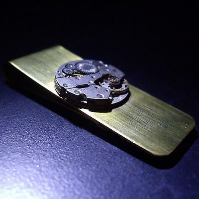 Vintage Retro Steampunk Watch Movement Money Clip Christmas Gift