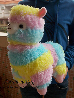 "Japan Amuse RAINBOW Alpacasso Alpaca 14"" Plush Doll Toy So Cute"