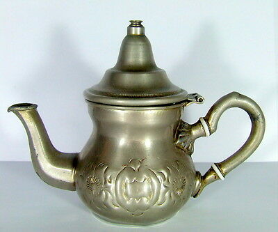 ANTIQUE MIDDLE EASTERN MOROCCO COPPER COFFEE POT TEAPOT SIGNED.EMBOSS ENGRAVED
