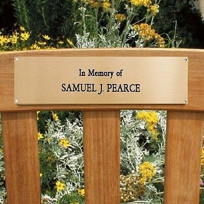 """Engraved Brass Plaque Plate Memorial Sign Bench Pet 5"""" X 3"""" Office"""