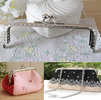 Sewing Purse Handbag Coins Bags Silver Handle Metal Kiss Clasp Frame 15cm New