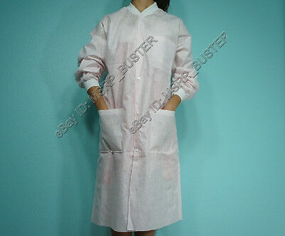 20 Knee Length PINK SMS Three-Layer Disposable Lab Coats Gowns Dental Medical