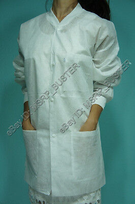 20 Hip Length White SMS Three-Layer Disposable Lab Coats Gowns Dental Medical