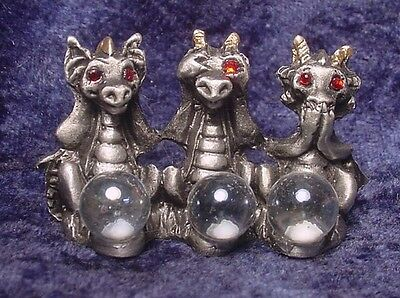 """Pewter """"No Evil"""" Wise Dragons with Crystals"""