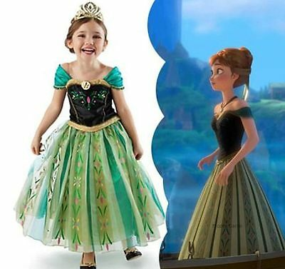 Frozen Elsa Anna Princess Dresses Kids Costume Disney Girls Child Queen Cloth