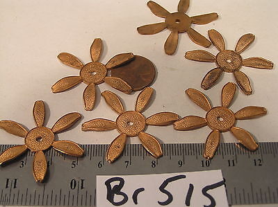 12 Vtg Old Patina 39mm Brass Fancy Flower Hole Center Jewelry Findings Stamping
