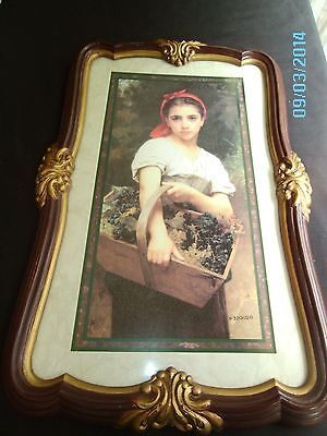 W BOUGUEREAU SIGNED PRINT HOMCO THE GRAPE PICKER FAUX WOOD GESSO FRAME MATTED