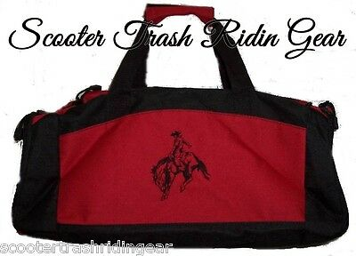 Personalized monogrammed SADDLE BRONC RIDER RIDING RED Duffle Bag rodeo horse