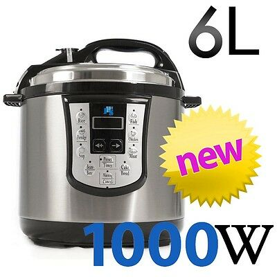 JHS8 8-in-1 Electronic Pressure Cooker Stainless Steel 1000W 6L Non-Stick 240v