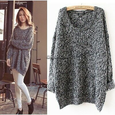 Women Casual Gray Round Neck Long Sleeve Knitted Sweater Loose Knitwear Pullover