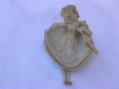 CUTE BISQUE NAUGHTY GIRL WITH CAT UMBRELLA TRAY PIN TRAY DISH