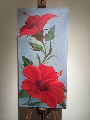 Old Original Oil Painting Signed By Artist J. Good Red Flowers Stunning Bright